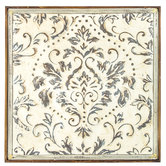 Distressed Cream Damask Metal Wall Decor